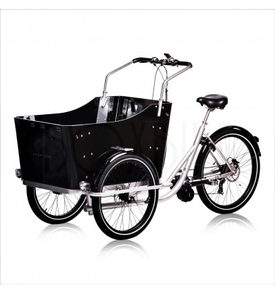 Strøm|stad Lådcykel med mittmotor 250-750W - Strömstad plus4 - Silver ram / svarta detaljer 24 975 DKK