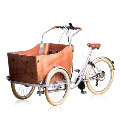 Ladcykel med centermotor 250-750W - Strømstad plus4 - Sølv ramme / træ kasse / brune detaljer