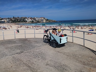 Cargo bike at Bondi Beach